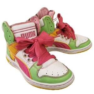 Puma High Tops Size US 6 Pink Green Yellow